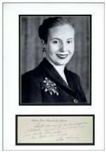 Eva Peron Autograph Note Display